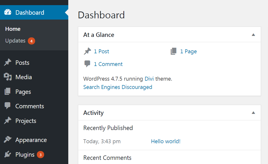 Update notifications in the WordPress back end.