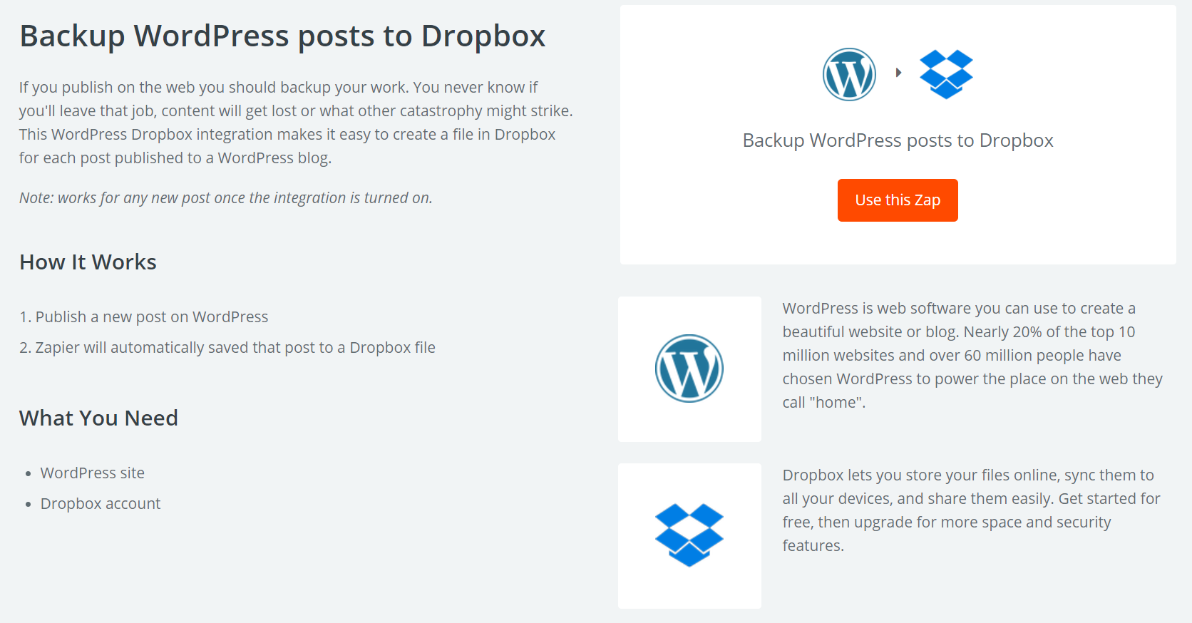 The Dropbox integration Zap.