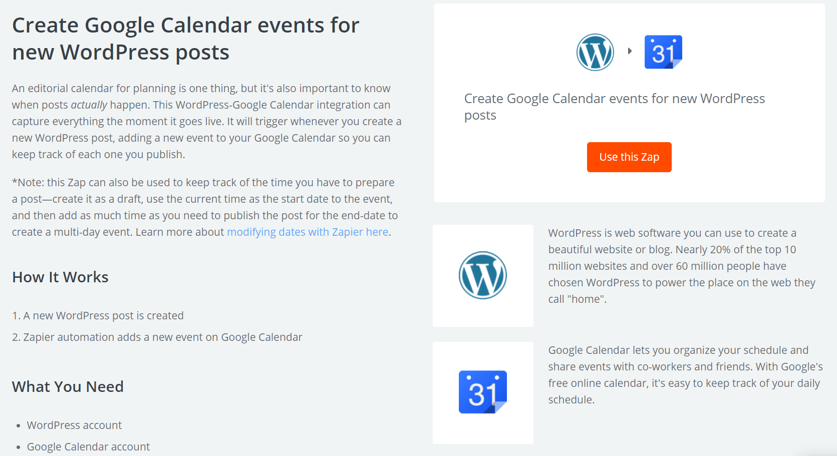 The Google Calendar integration Zap.