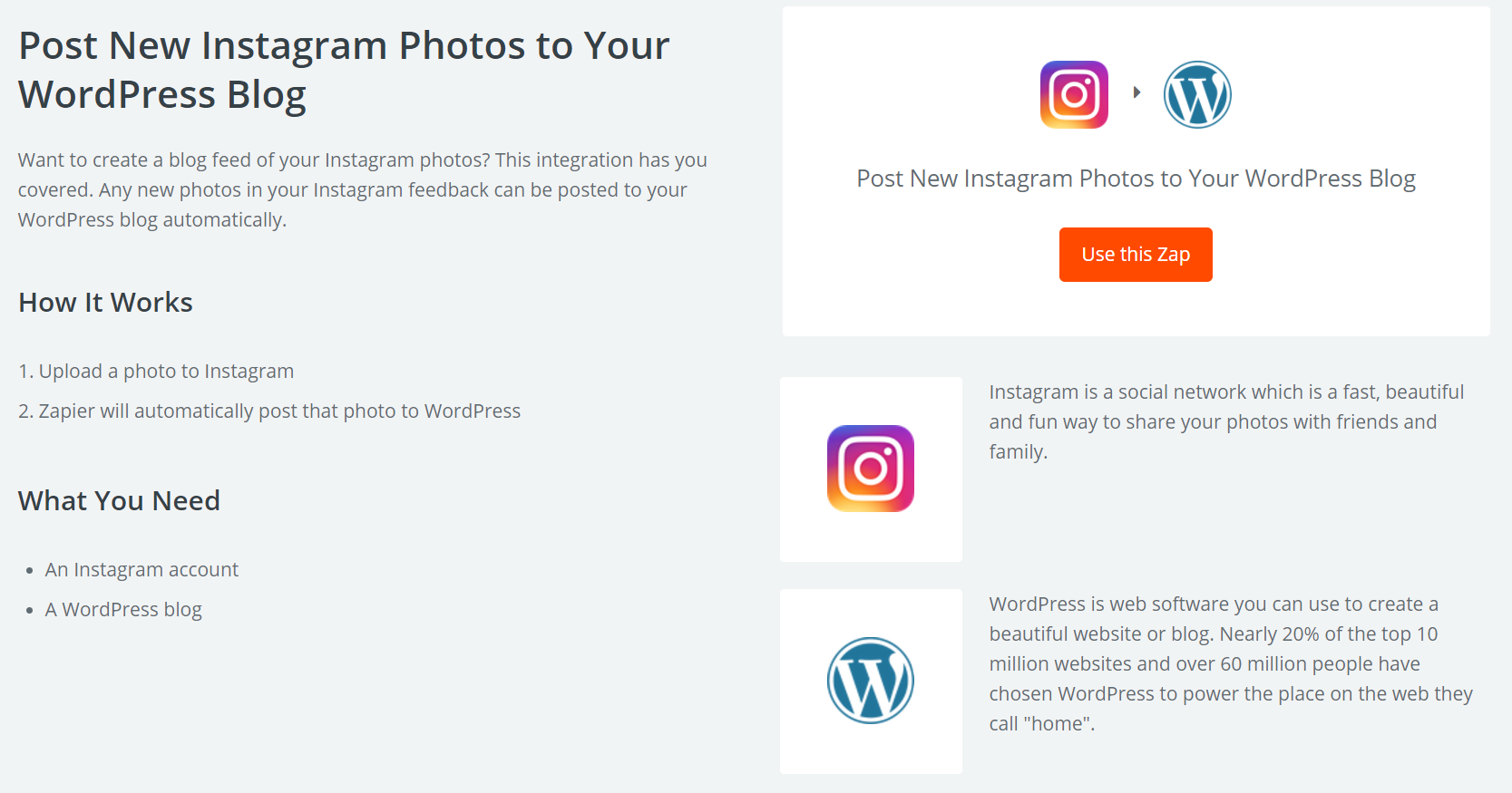 The Instagram integration Zap.