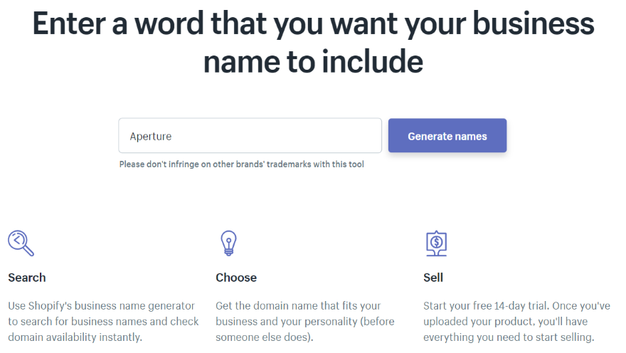 how to create a business name generator