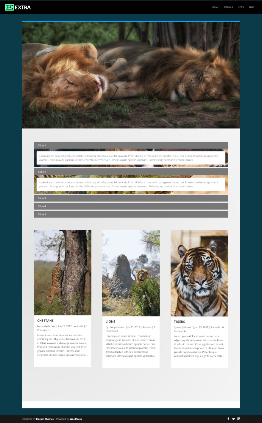 Designed by elegant themes powered by wordpress - Here S A Look At The Blog Page Using Theme 7 In Extra Divi Accordion Works The Same With Extra As It Does With Divi