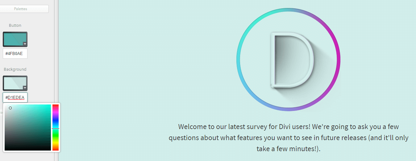 Changing your survey's color palette.