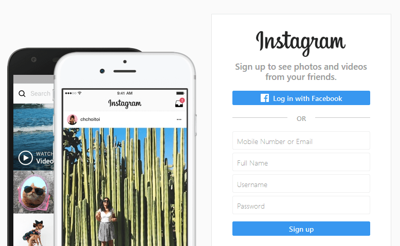 Instagram's homepage.