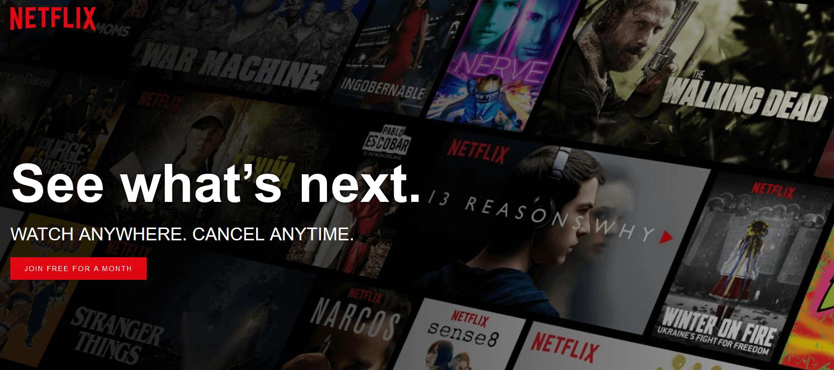 Netflix's homepage.