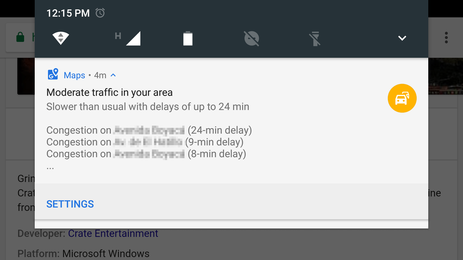 A context-based message from a smartphone.