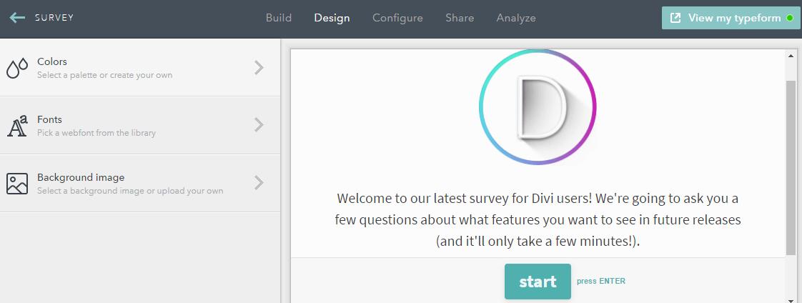 Typeform's Design customization tab.