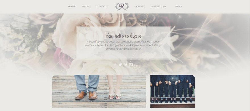 A wedding website homepage.