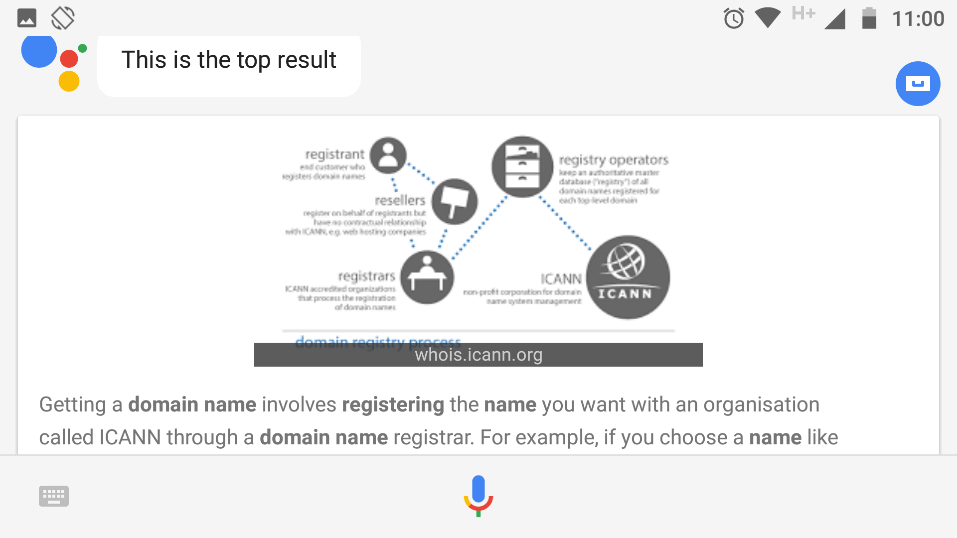 An example of a search engine instant answer.