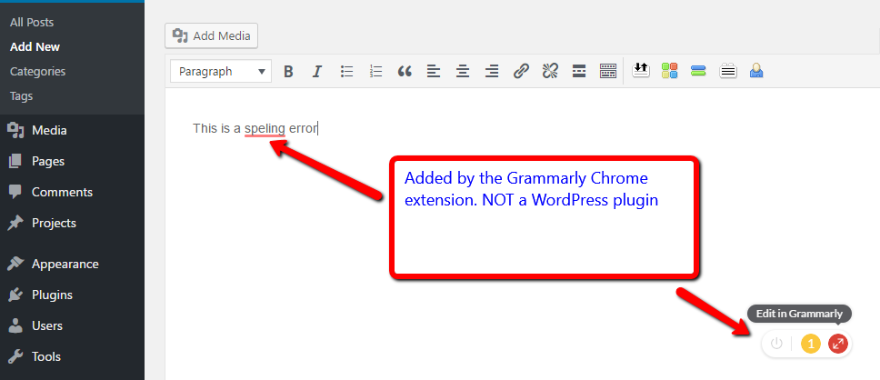 grammarly chrome wordpress plugin
