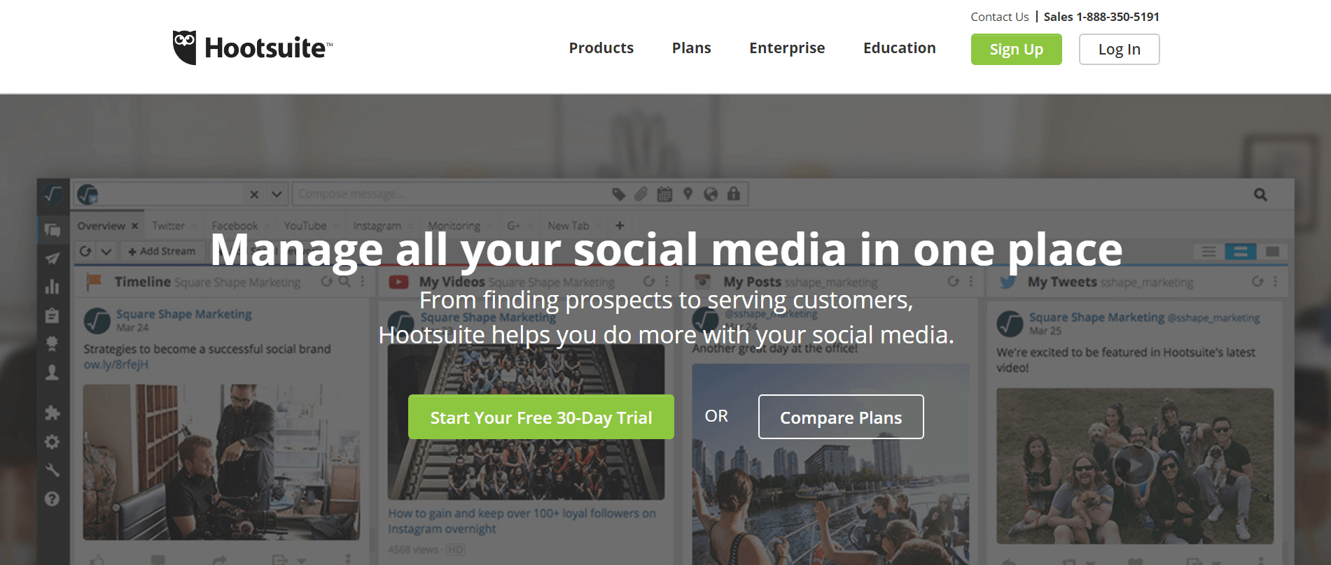 The Hootsuite home page.