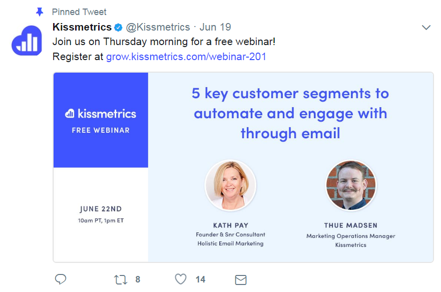 A Twitter post about a Kissmetrics webinar.