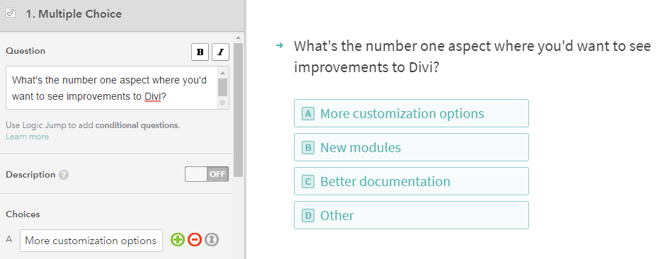 An example of a multiple choice question.