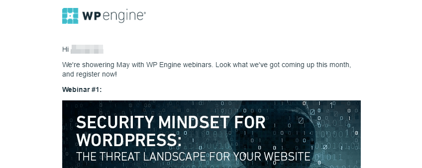 A promotional email for a webinar.