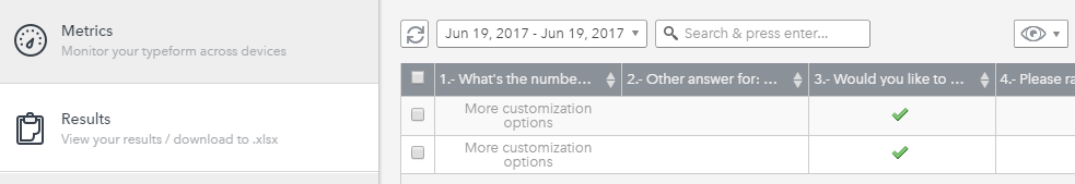 Typeform's results screen.