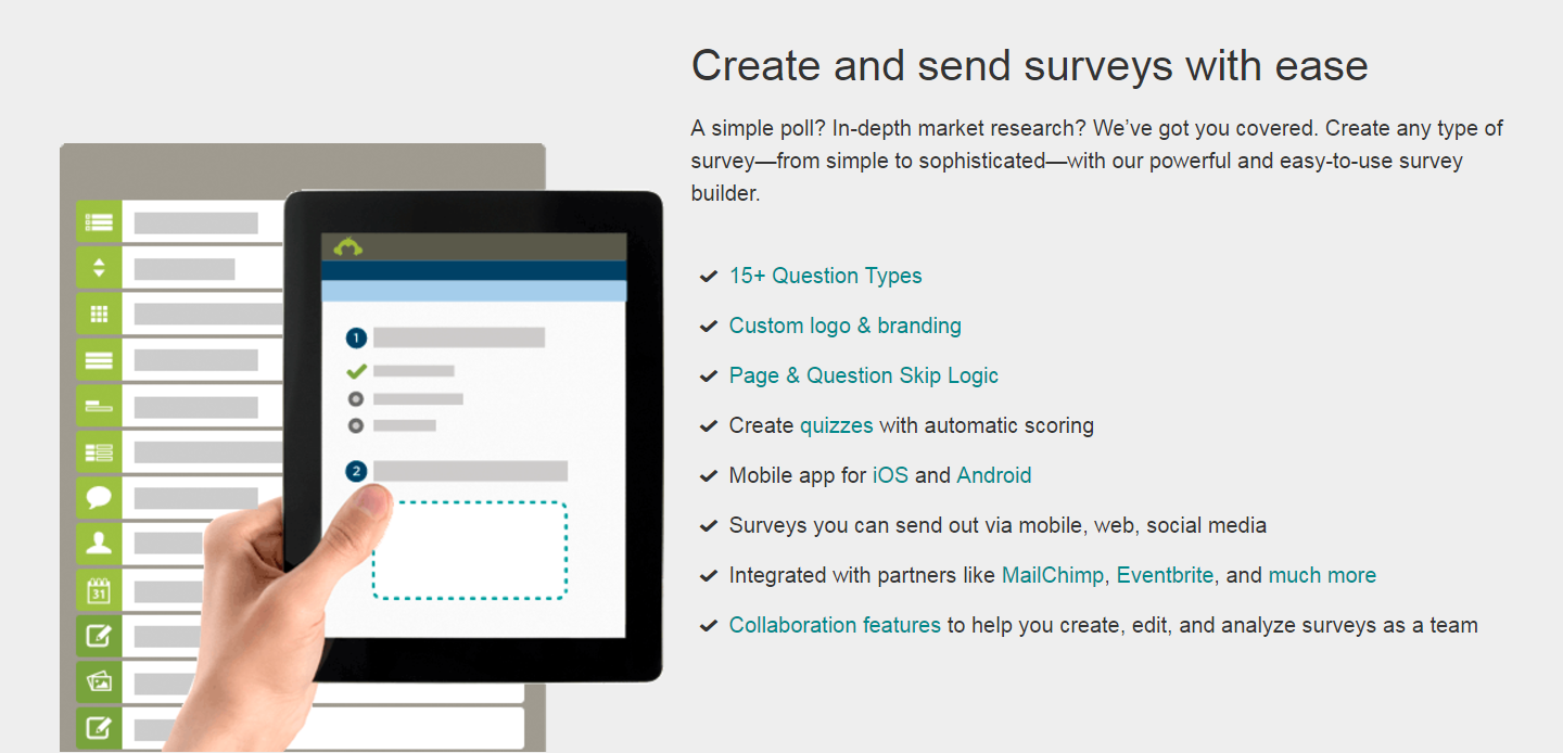 The SurveyMonkey survey creation tool.