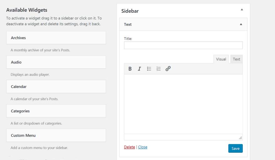 The updated WordPress text widget.