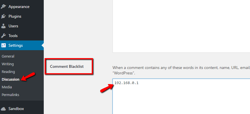 wordpress comment blacklist