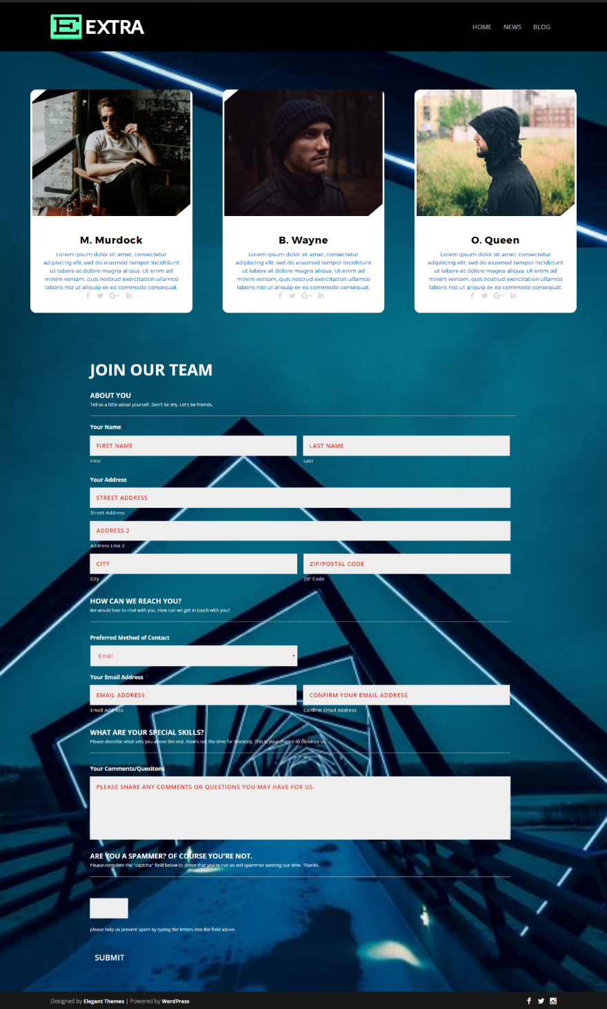 Designed by elegant themes powered by wordpress - Extra Theme With Advanced Contact Form In Person Module Layout