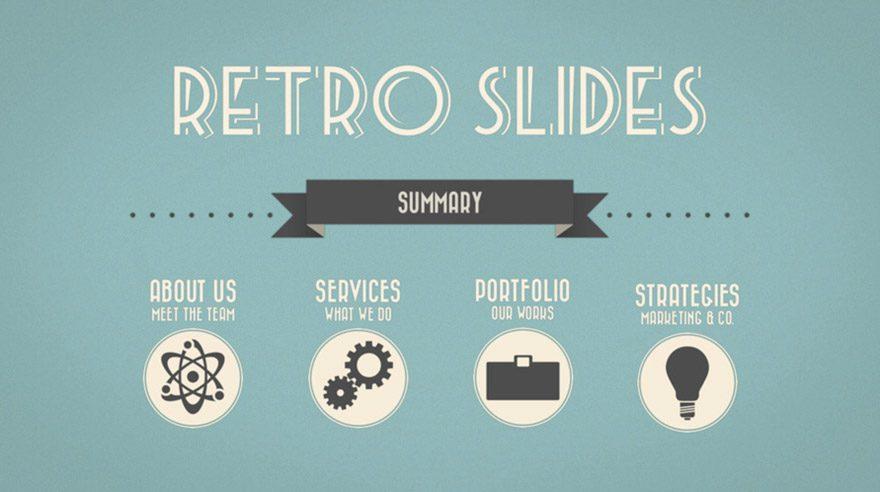 keynotes template retro slides
