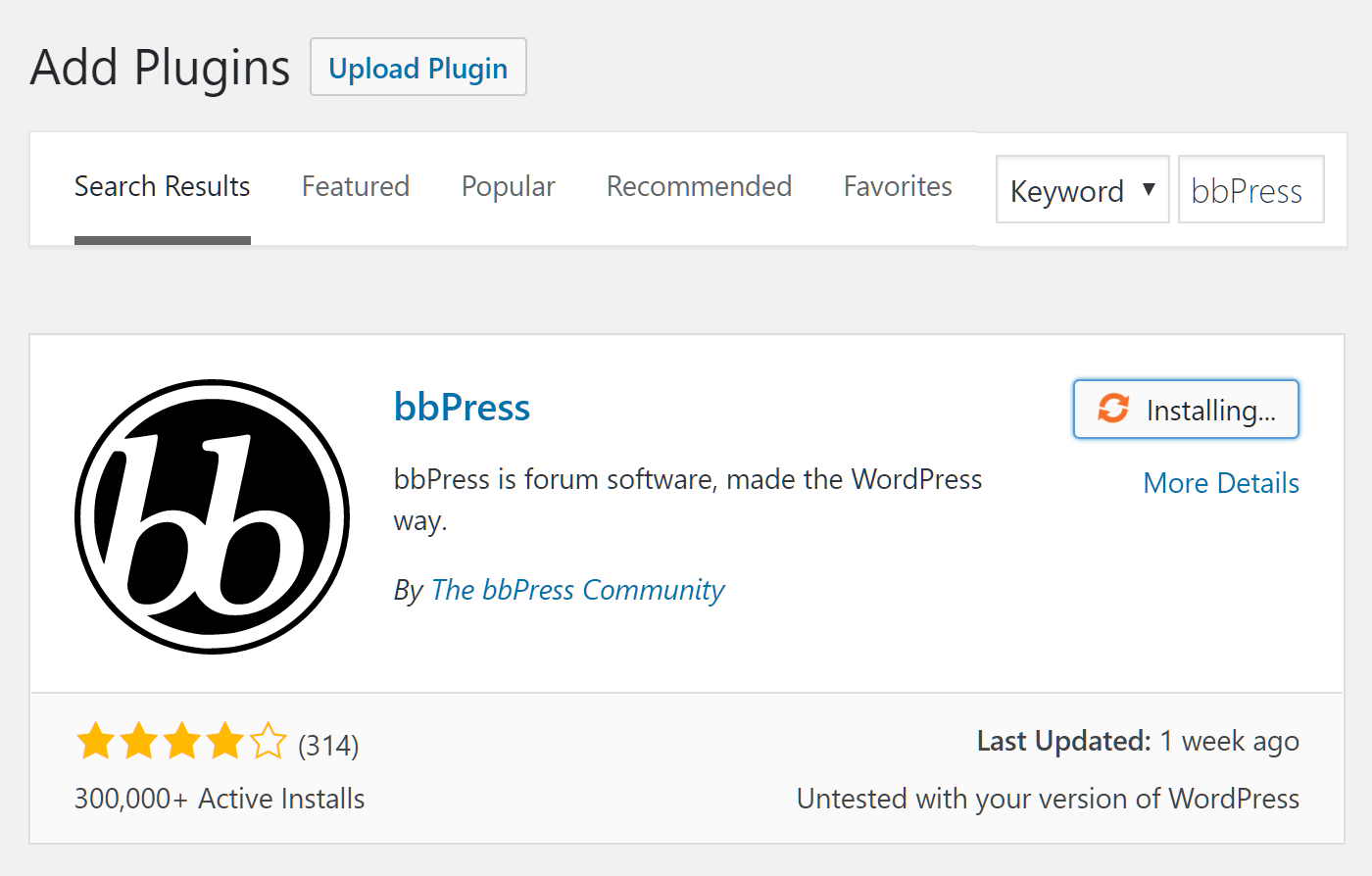 Add the bbPress Plugin
