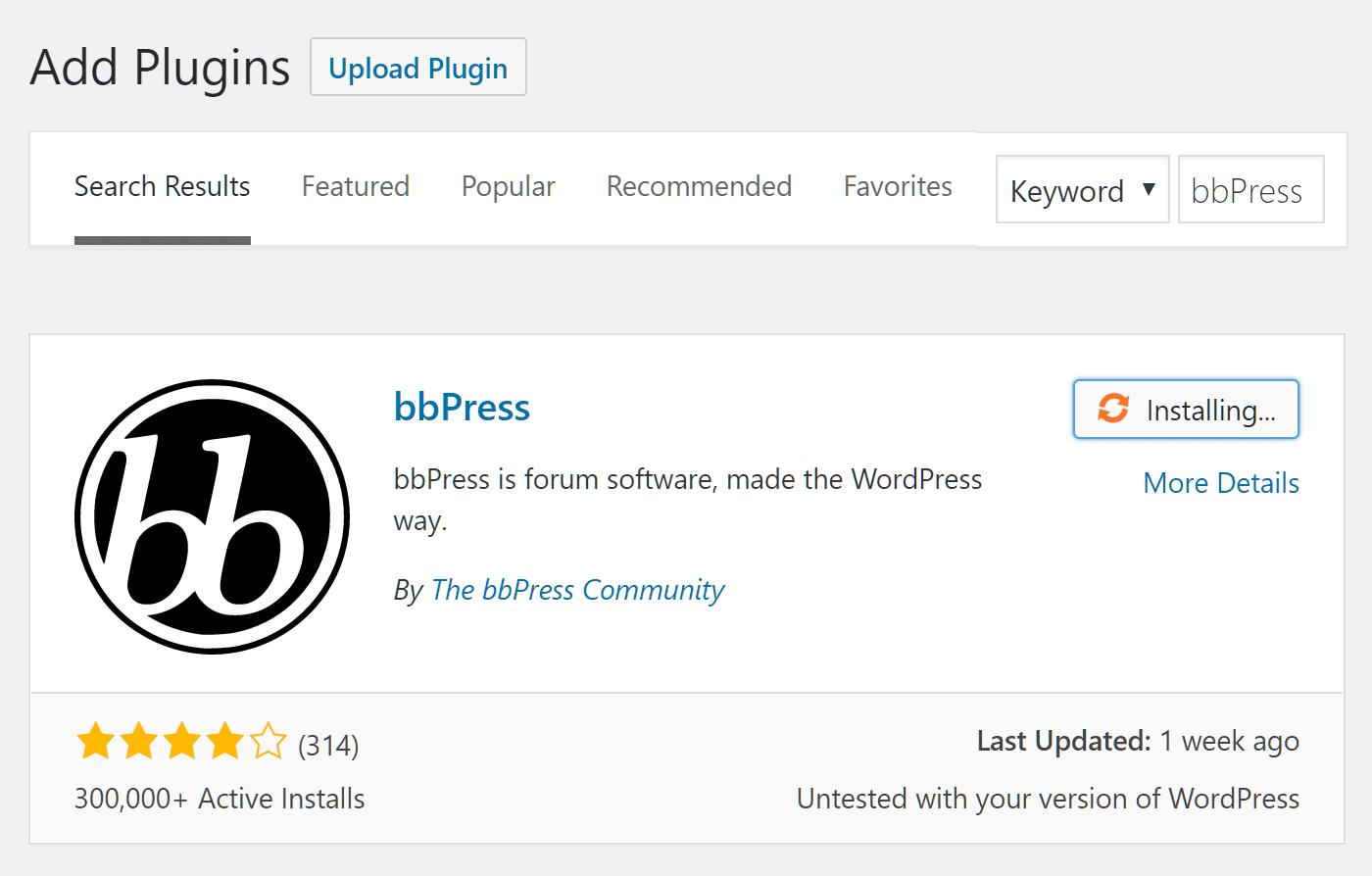 Add the bbPress Plugin