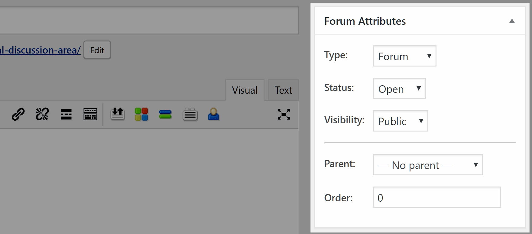 Set the forum attributes