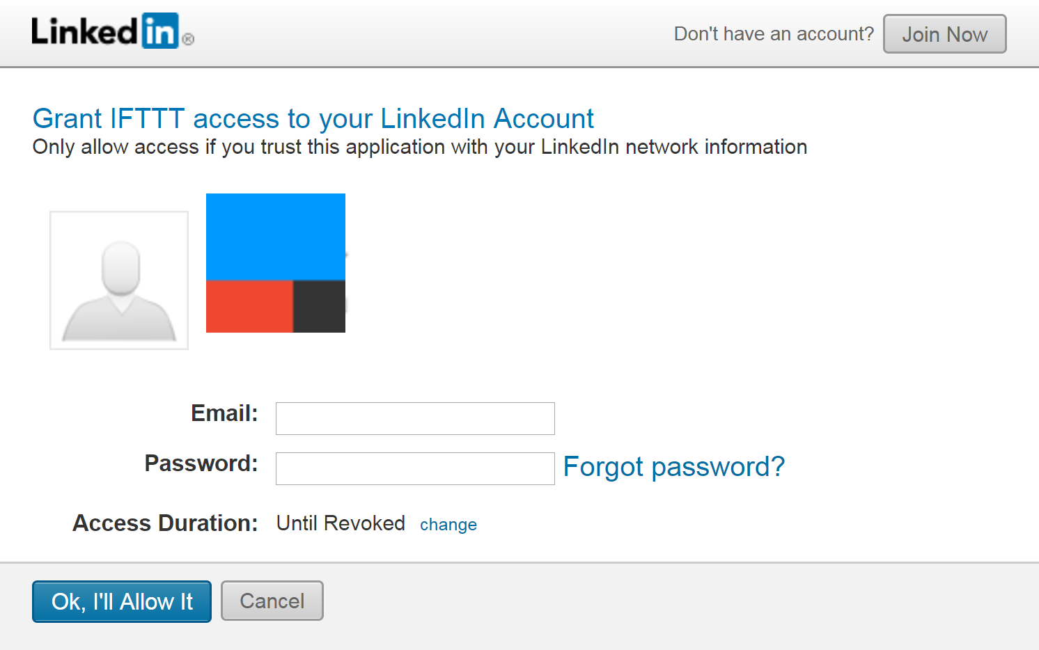 Connecting to LinkedIn with IFTTT.