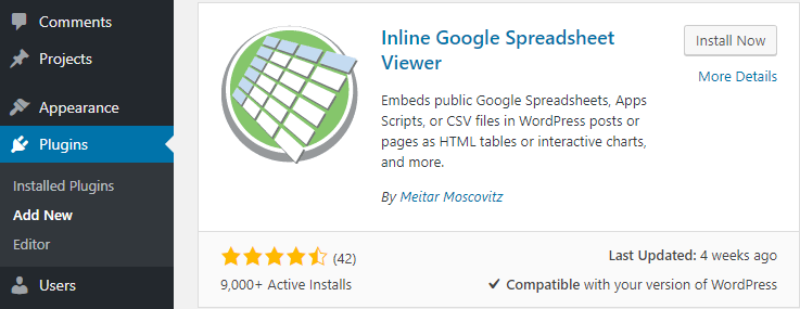 The Inline Google Spreadsheet Viewer plugin.