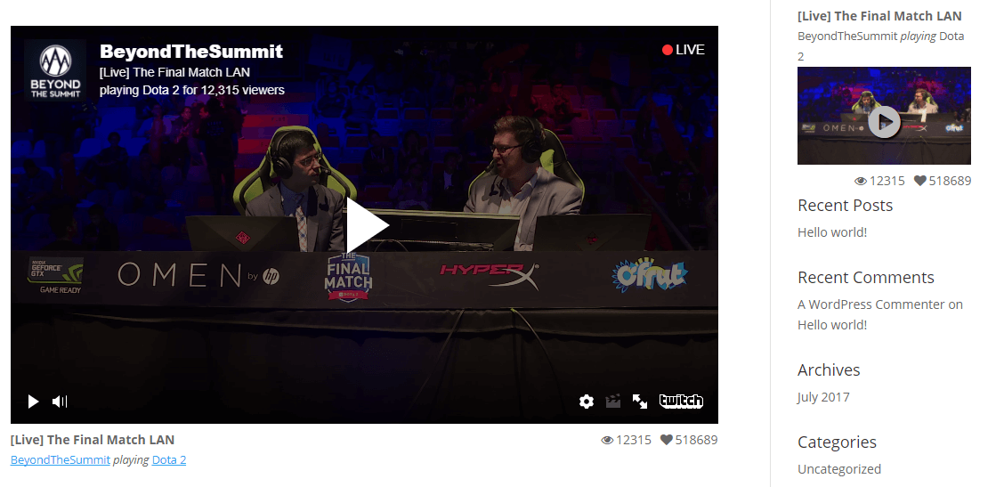 An example of an embedded Twitch stream.