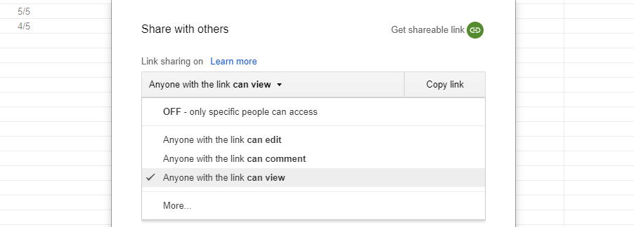 Setting your Google Sheets so that anyone with a link can view them.