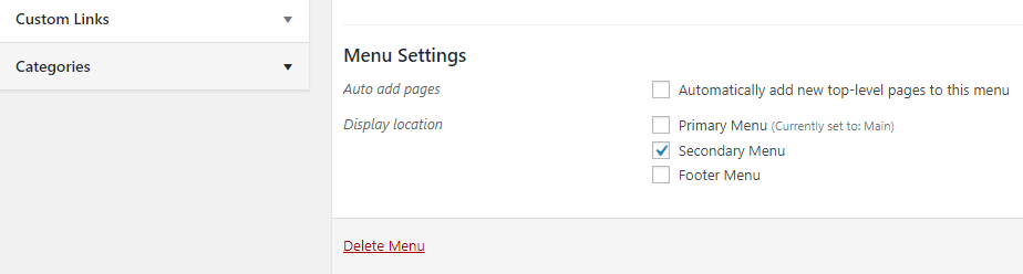 Configuring the location for your secondary menu.