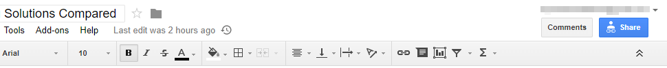 A Google Sheet share button.