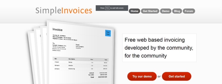 The Simple Invoices home page.
