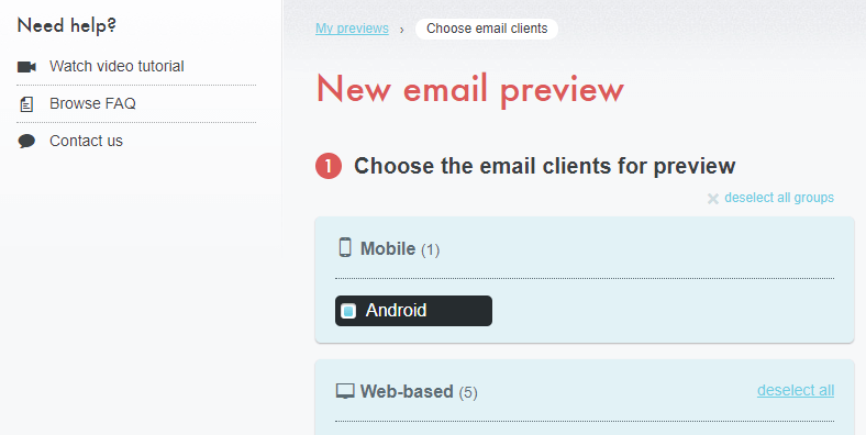 Choosing the clients to test your email with.
