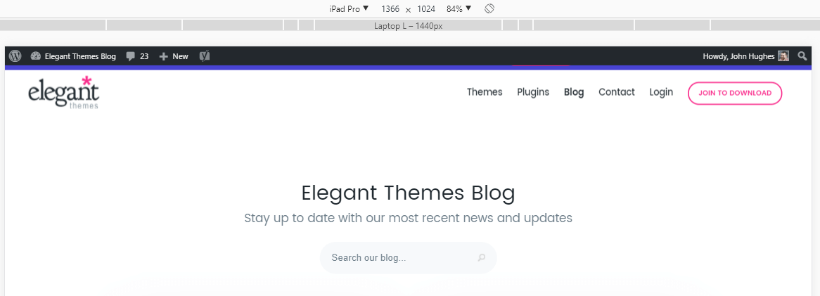 Elegant Theme's mobile website.