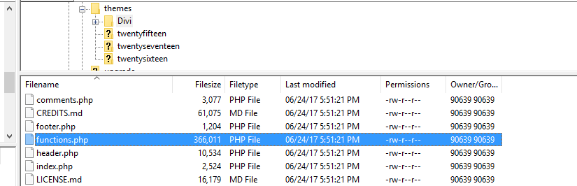 Your functions.php file.
