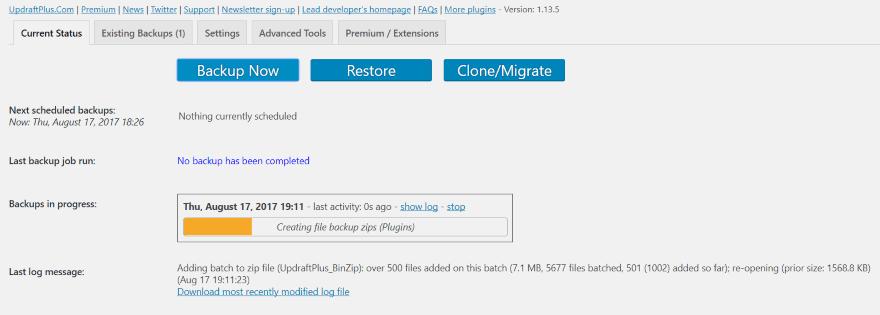 backup 9 - sao lưu trang web WordPress
