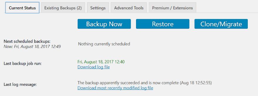 backup 8 - sao lưu trang web WordPress