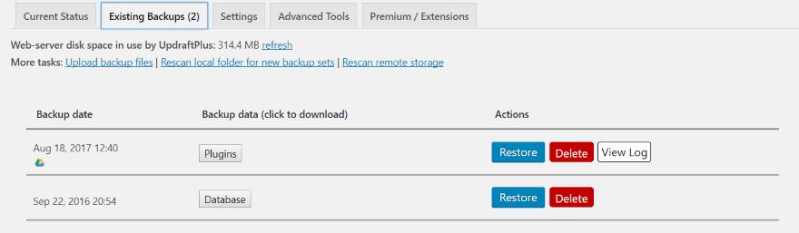 backup 7 - sao lưu trang web WordPress