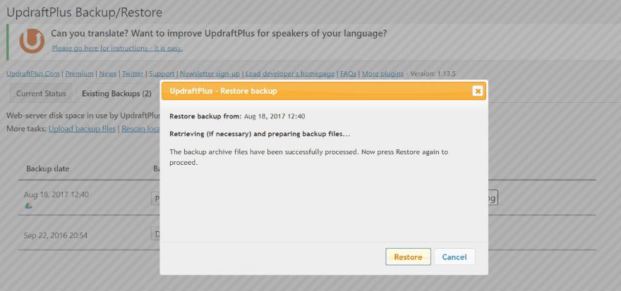 backup 2 - sao lưu trang web WordPress