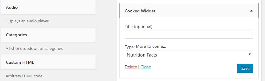 The Cooked plugin's widget.
