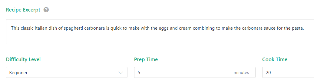 Your recipe's excerpt and preparation time.
