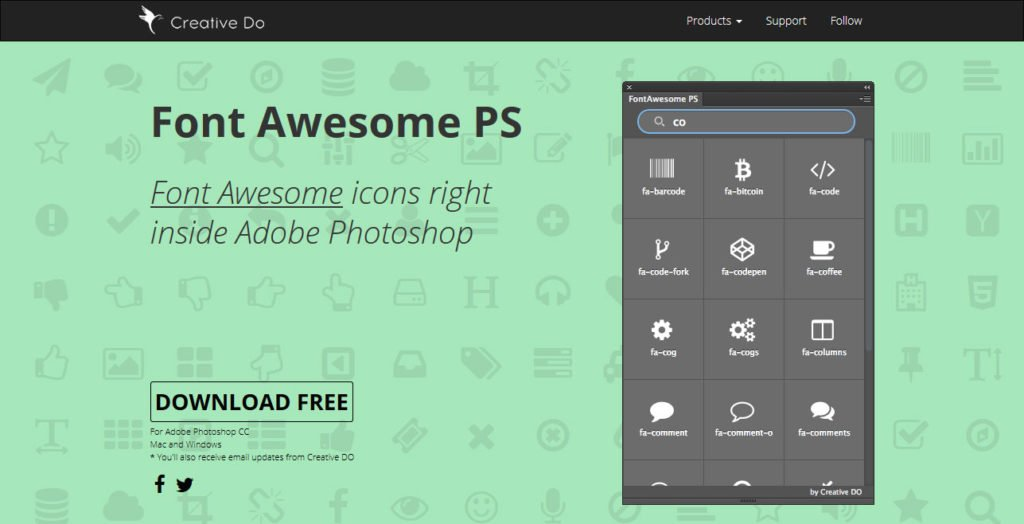 font awesome ps photoshop plugins