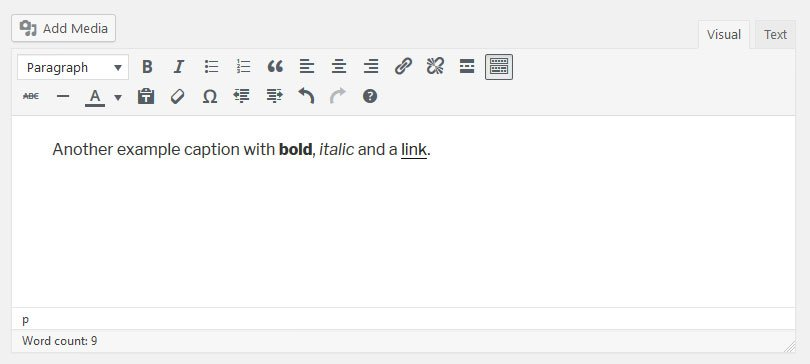 how create an html image caption with the wordpress editor