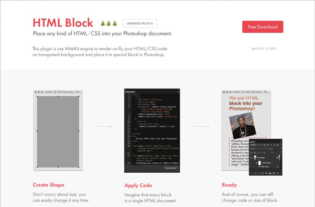 html block photoshop plugins