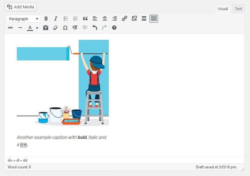 html image caption in wordpress editor