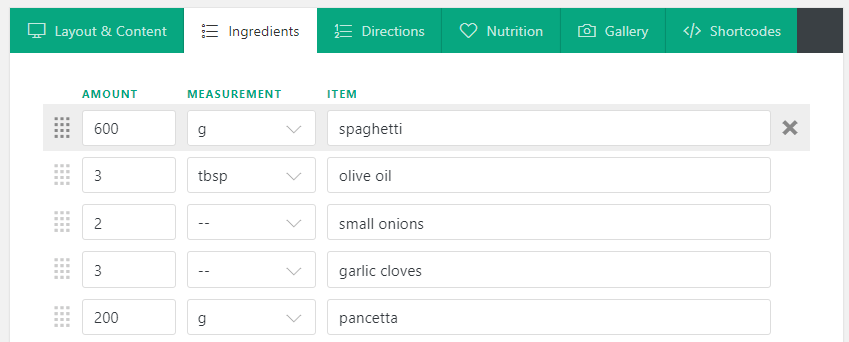 Your recipe's ingredients tab.