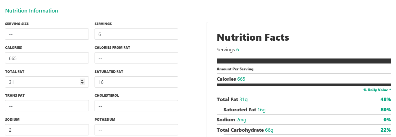 Your recipe's nutrition tab.