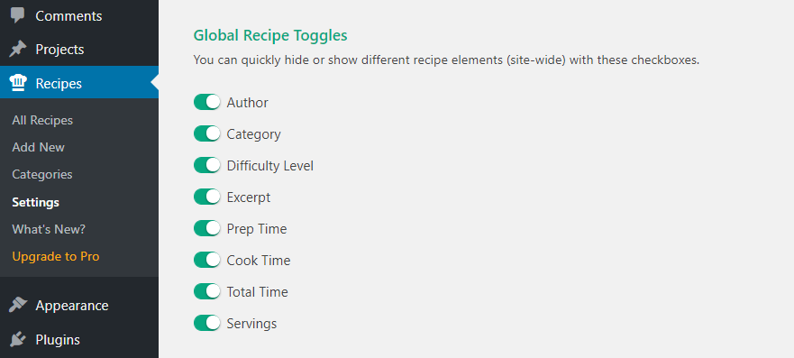 Toggling your recipes' elements.